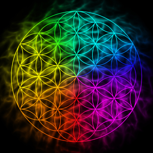 Rainbow flower of life with aura – symbol of sacred geometry